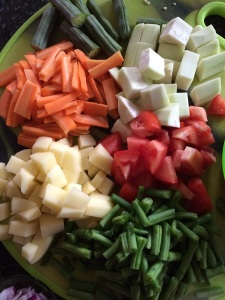 Check the chopped veggies for how to cut them for cooking them all evenly.