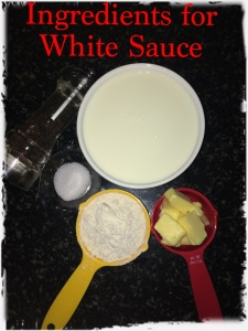 Take all your ingredients for white sauce.