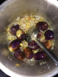 Saute the brinjals until it gets cooked in the oil well.