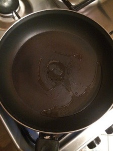 Add oil in the pan.