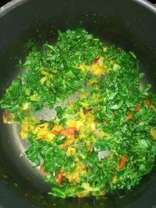 Add fresh chopped methi leaves.