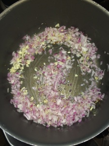 Saute for few mins and add the finely chopped onion.