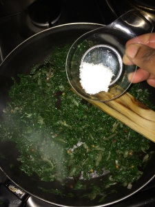 Add salt after the spinach gets cooked.