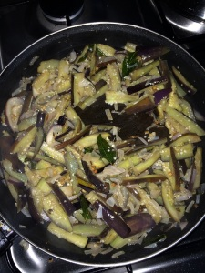 Allow the brinjals to cook well.