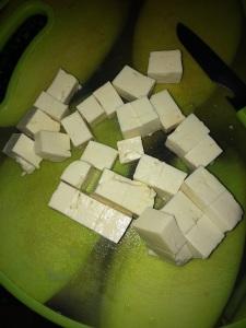 Cube the tofu.