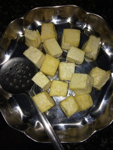 Transfer the tofu's to a plate.