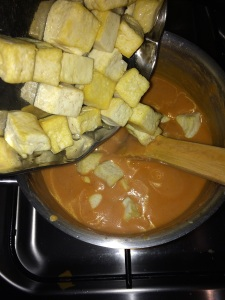 Check the spice level and adjust accordingly and then transfer the fried tofu's into the gravy.