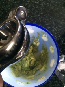 Mash the avocado using a fork. Squeeze lime juice to avoid oxidation of avocado.