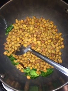 Time to add the cooked kala chana.