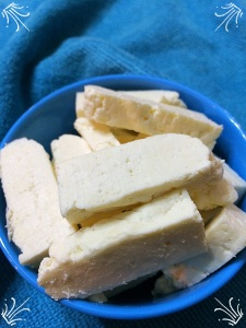 The paneer is ready and can be cut to desired shape and used in your favourite dishes.