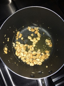 Roast the cashews until golden brown.