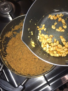 Add the roasted cashews at this stage.