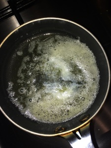 Take little oil and butter in a pan for the tadka.