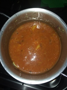 Add the pureed tomatoes to the sauteed mixture. Add required amount of water and allow it boil.