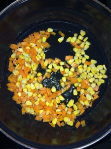 Now add the fresh or frozen corn kernels and stir it for a while.