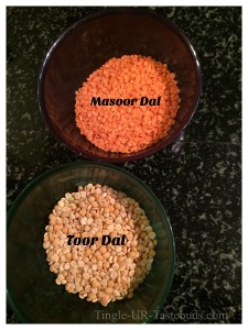 Take equal quantity of masoor dal and toor dal.