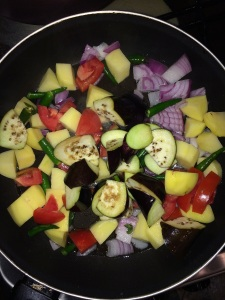 Add little oil in a pan and saute the vegetables for few mins or until half done.