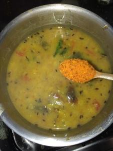Add the sambar masala at this stage.
