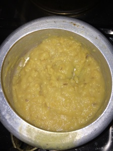 Cook the toor dal by adding enough water for three to four whistles.
