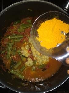 Check the taste and add sambar powder accordingly.