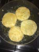 Put them in oil and fry them slowly until golden brown.