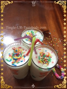 Enjoy the milkshake with some added rainbow vermicelli.