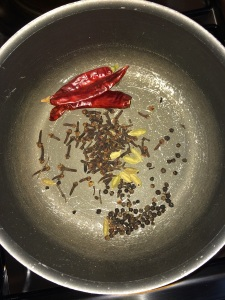 Finally dry roast the cloves, pepper, cardamom and dry red chilies.