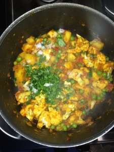 Add little chopped coriander leaves.