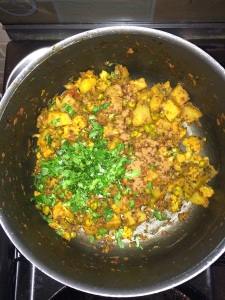 Add the remaining coriander leaves and mix everything.