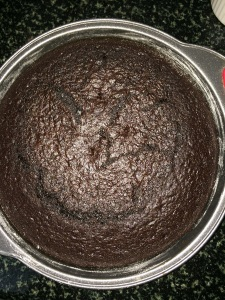 The cake is baked and is ready to be frosted.