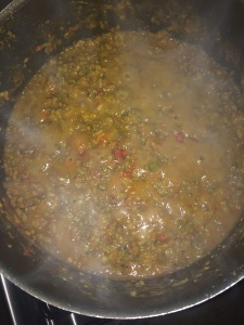 After it gets blended up with the gravy check the spiciness and add red chili powder and cook in a very low flame for atleast 20 mins. This will help the gravy seep into the green gram and will taste good.
