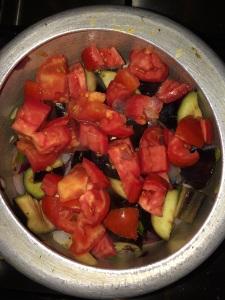 Add the tomato and saute.