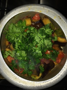 Finally add the coriander leaves.