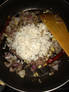Then add the grated fresh coconut.