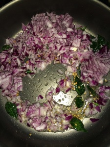 Then add the chopped onion.