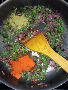 Add the fennel powder and red chili powder.