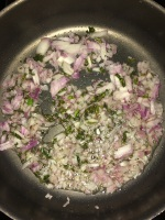 Now add the chopped onion and cook till they become translucent.