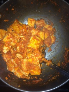 Mix everything well and cover and cook till the tofu masla becomes dry.