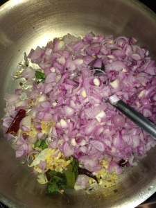 After that add the chopped shallots.
